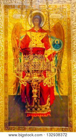 KIEV, UKRAINE - APRIL 18, 2015 Saint Michael Icon Incense Holder Basilica Saint Michael Monastery Cathedral Kiev Ukraine. Saint Michael's is a functioning Greek Orthordox Monasatery in Kiev. The original monastery was created in the 1100s but was destroye