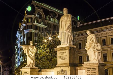 Saint Andrew Queen Olga Founders Statues Mikhaylovsky Square Kiev Ukraine. Olga was a queen in 900s and first Russian Ruler to accept Christianity.