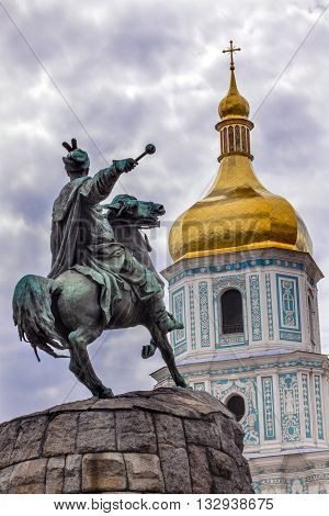 Bogdan Khmelnitsky Equestrian Statue Saint Sophhia Sofiyskaya Square Kiev Ukraine. Founder of Ukraine Cossack State in 1654. Statue created 1881 by Sculptor Mikhail Mykeshin