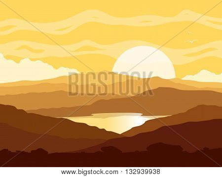 Mountain landscape with huge lake at yellow sunset. Wild nature at sunset. Vector illustration.