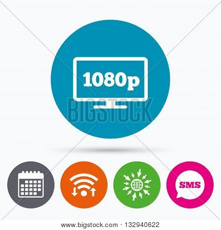 Wifi, Sms and calendar icons. Full hd widescreen tv sign icon. 1080p symbol. Go to web globe.