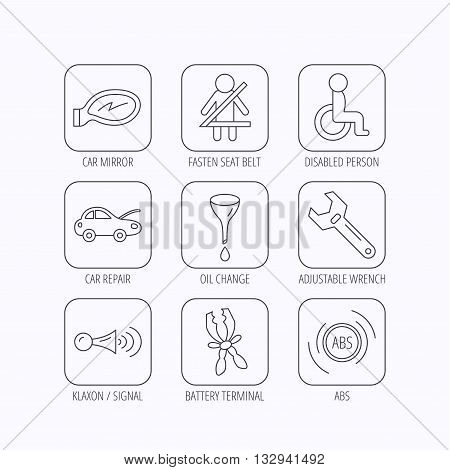Car mirror repair, oil change and wrench tool icons. ABS, klaxon signal and fasten seat belt linear signs. Disabled person icons. Flat linear icons in squares on white background. Vector poster