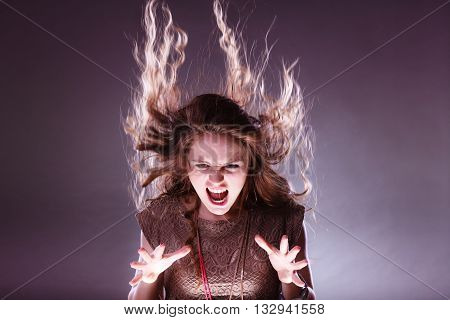 Angry Mysterious Woman Girl With Flying Hair.
