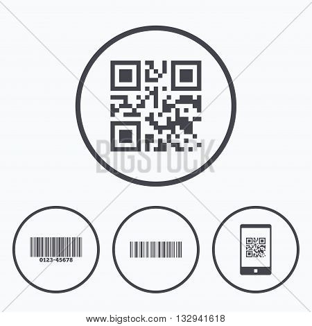 Bar and Qr code icons. Scan barcode in smartphone symbols. Icons in circles.
