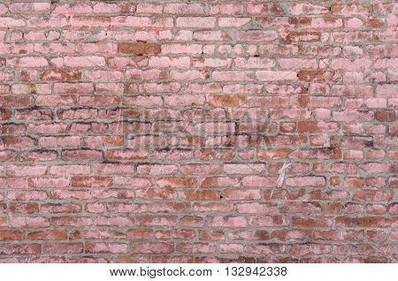 old weathered rustic brick wall background detail