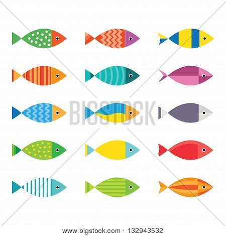 Aquarium fish icons set. Vector aquarium fish template. Aquarium fish flat kit design elements