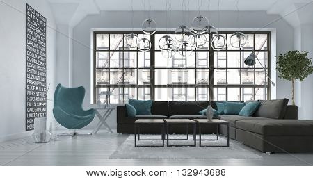 Living room interior in a modern urban apartment with a grey upholstered corner lounge suite and blue tub chair against a large view window, 3d rendering