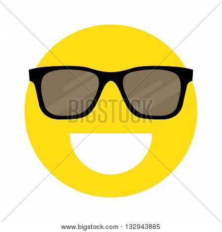 flat Vector icon - illustration of smiley face with sunglasses icon isolated on white