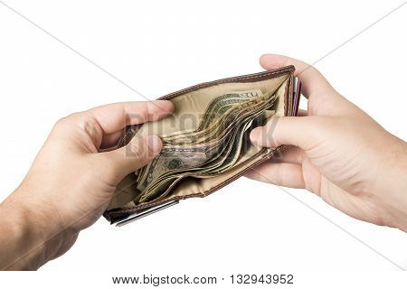 A wallet with cash (American dollars) being held open by a white male.