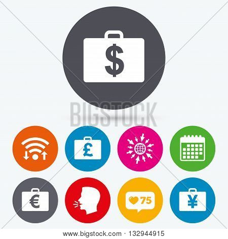 Wifi, like counter and calendar icons. Businessman case icons. Cash money diplomat signs. Dollar, euro and pound symbols. Human talk, go to web.