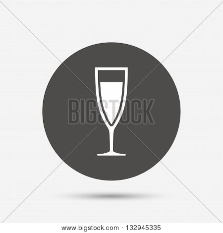 Glass of champagne sign icon. Sparkling wine. Celebration or banquet alcohol drink symbol. Gray circle button with icon. Vector
