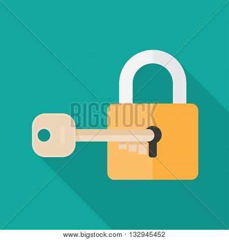 Padlock with key. Sign unlocking, access, password. Lock icon. Key icon.