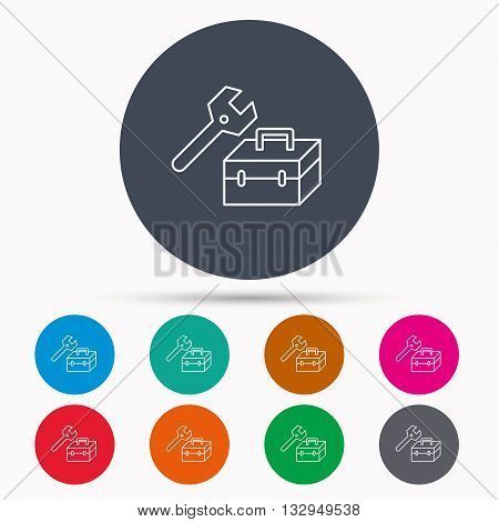 Repair toolbox icon. Wrench key sign. Icons in colour circle buttons. Vector