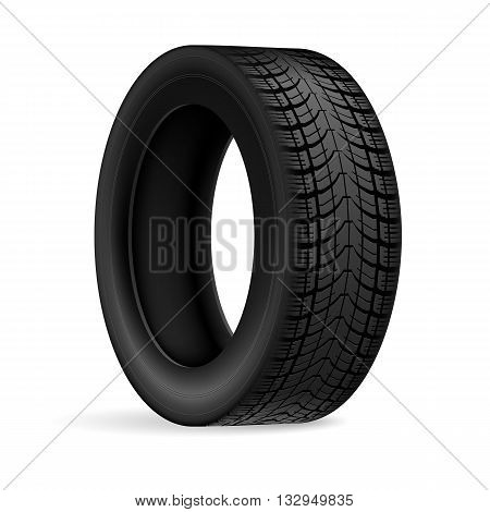 Black rubber car wheel against white background