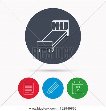 Single bed icon. Bedroom furniture sign. Calendar, pencil or edit and document file signs. Vector