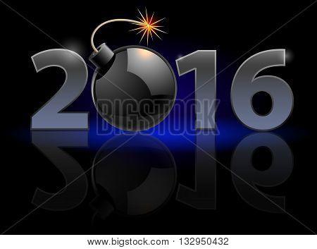 New Year Twenty-Sixteen: metal numerals with bomb instead of zero having weak reflection