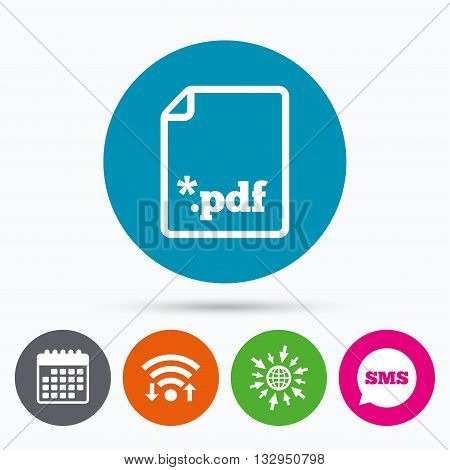 Wifi, Sms and calendar icons. PDF file document icon. Download pdf button. PDF file extension symbol. Go to web globe.