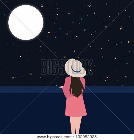 girls looking starring at the night sky alone contemplation thinking alone vector