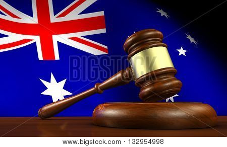 Australia laws legal system and justice concept with a 3D illustration of a gavel and the Australian flag on background.