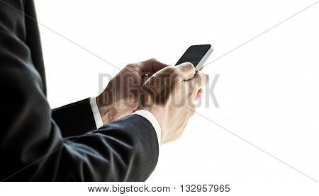 Businessman using smartphone, isolated on white background