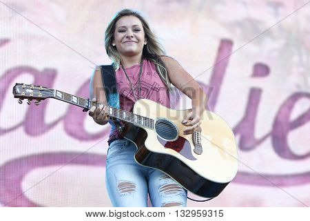 NEW YORK-JUN 26: Country musicians Taylor Dye of Maddie & Tae performs onstage at the 2015 FarmBorough Festival - Day 1 at Randall's Island on June 26, 2015 in New York City.
