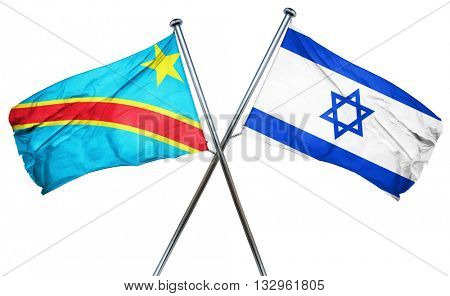 Democratic republic of the congo flag with Israel flag, 3D rende