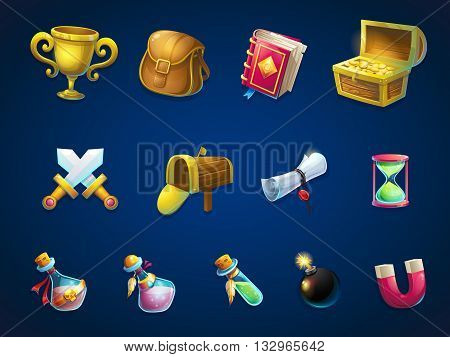 Set of different items. Vector background illustration screen to the computer game Atlantis ruins. Bright background image to create original video or web games graphic design screen savers. poster