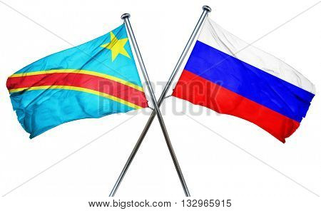 Democratic republic of the congo flag with Russia flag, 3D rende