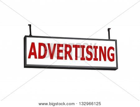 Advertising signboard on white background, stock photo