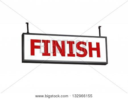 Finish signboard on white background, stock photo