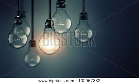 Illuminating light bulb in the dark idea concept realistic 3D image, 3D illustration