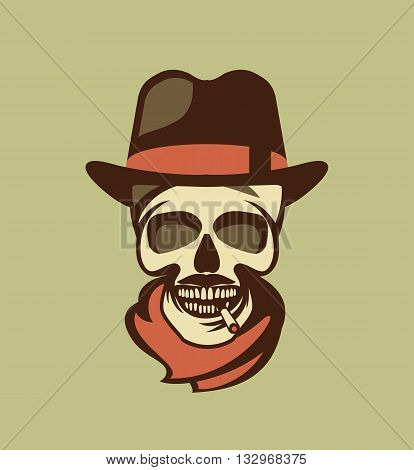 vector skull emblem Trilby hat with a cigarette in his mouth retro style