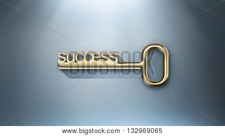 golden key to success conceptual image, 3D illustration
