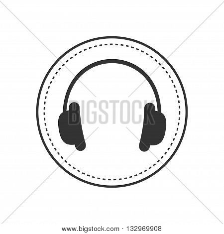 Headphones earphones with dash line round circle. Music card. Icon in Flat design style White background. Isolated. Vector illustration