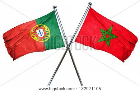 Portugal flag with Morocco flag, 3D rendering