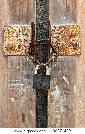 closed wood door with lock,chain, close door