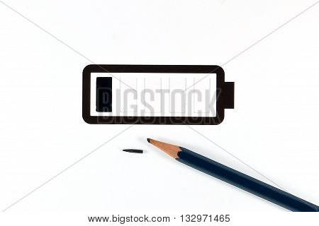 Pencil and Simple battery low; black and white icon ideal for phone interface