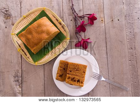Ma Lai Gou-Traditional malaysia steamed cake on plate and banana leaf.