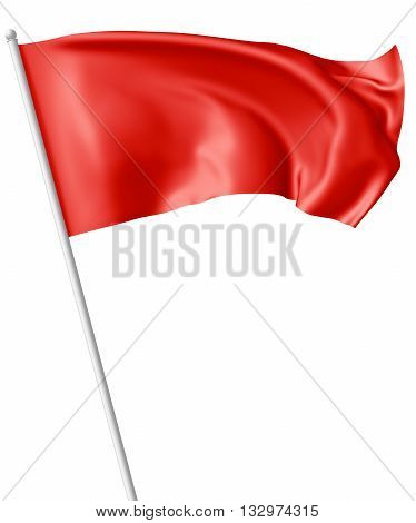 Red Flag On Flagpole Waving In Wind