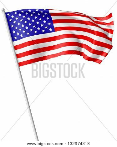 Flag Of United States With Flagpole