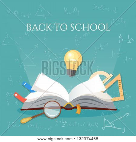 Time to education open book school subjects back to school vector illustration