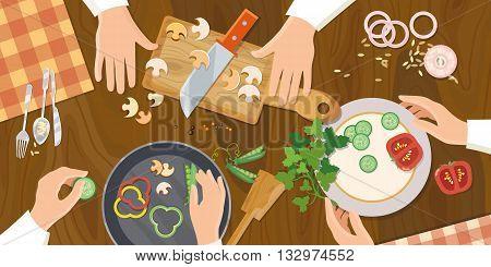 Team of chefs preparing food top view vector illustration