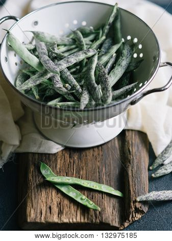 Freshly picked Green Beans in a colander