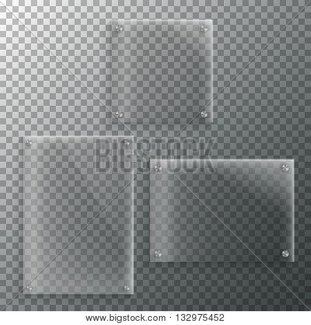 Illustration of Set of Realistic Vector Glass Frame Template. EPS10 Vector Plastic Plate Set Isolated on Transparent PS Style Background