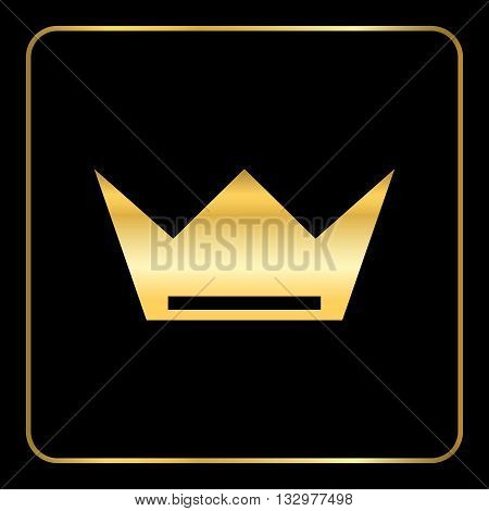 Crown gold icon. Royal golden silhouette icon isolated on black background. Symbol of king throne queen or jewelry authority kingdom. Luxury monarch concept Flat modern design. Vector illustration