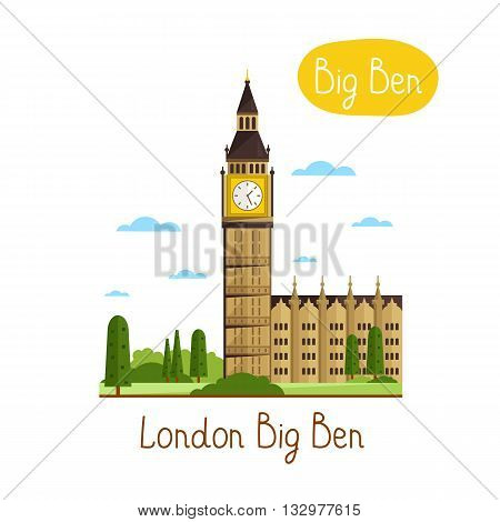 London Big Ben. Famous world landmarks icon concept. Journey around the world. Big Ben vector icon. Tourism and vacation theme. Modern design flat vector illustration. Big Ben isolated on white background.