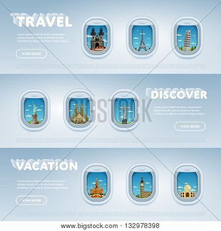 World travel and tourism concept flat vector. Famous world buildings. World travel landmark and famous travel place. Vacation travel architecture in cartoon style. World travel background. Travel banners. Travel background for traveling agency. Travel.