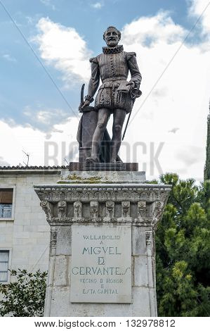 Valladolid Spain - March 23 2016: Statue of Cervantes Spain's most famous author in Valladolid Castile and Leon Spain.