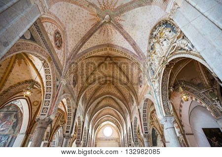 Milan, Italy - April 17, 2012:  the naves of the Santa Maria delle Grazie church