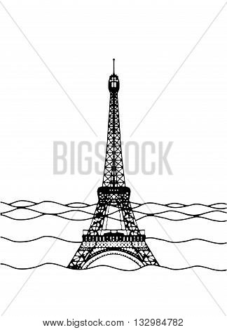 Eiffel Tower Flood. France Attraction Underwater.disaster In Paris France